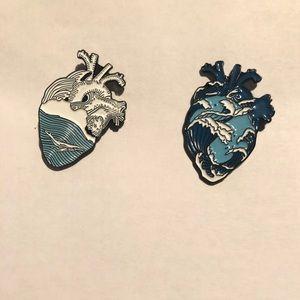 Bundle of 2 heart enamel pins